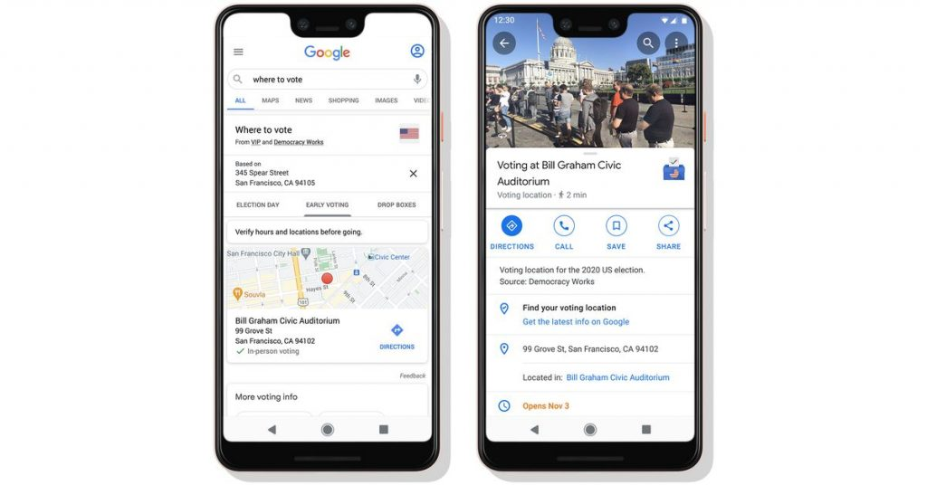 Google is making US voting locations easier to find via search and its Assistant